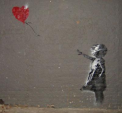 grafit devojčice sa balonom u obliku srca, Banksy