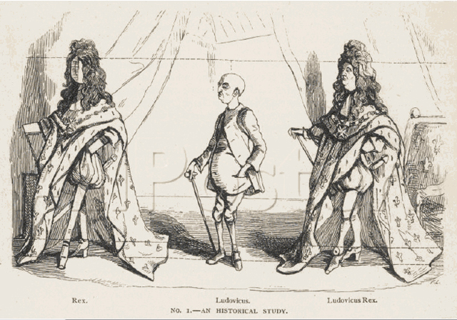 Put the wig and shoes on him and the other fripperies, and he stands before you majestic, imperial, and heroic! (William Makepeace Thackeray, The Paris Sketch Book, 1844)