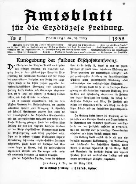 Zvanični plakat frajburške dijaceze, poziv vernicima na priznavanje legalne vlade