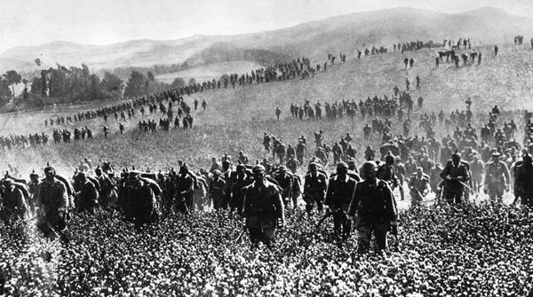 German Infantry advancing in their massed formations at Mons