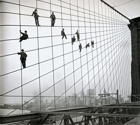 Painters on the Brooklyn Bridge, 1914, NYC Municipal Archives