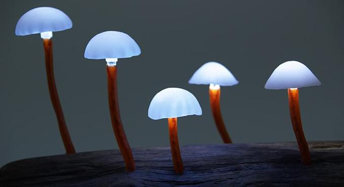 LED Mushroom Lights by Yukio Takano http://bit.ly/1nDrIus