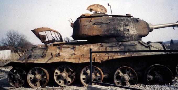 A destroyed T-34-85 tank in Karlovac, Croatia http://bit.ly/1qWaP44