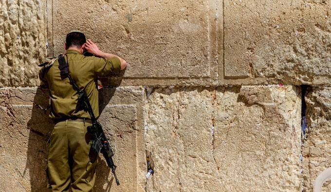 IDF soldier at Wailing Wall