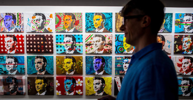 Warhol-like paintings of leader Orban
