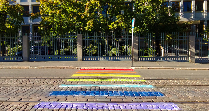 Russian Embassy in Helsinki, LGBT pavement http://bit.ly/1pqlDms