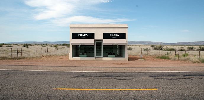 Prada Marfa, installed sculpture by artists Elmgreen and Dragset http://goo.gl/tCXNLk