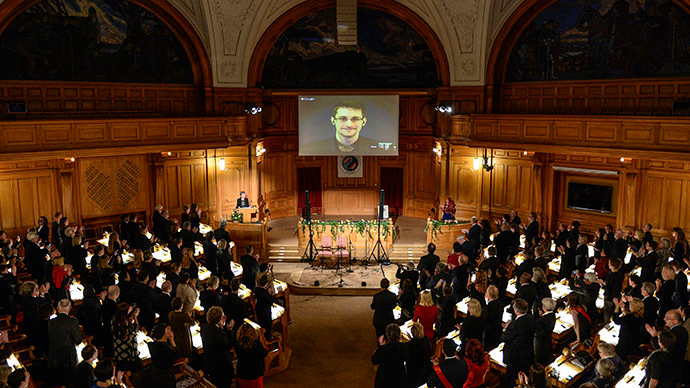 Edward Snowden on a livestream from Moscow, during the Right Livelihood Award ceremony at the second chamber hall at the Swedish Parliament in Stockholm December 1, 2014. (Reuters/Pontus Lundahl) http://goo.gl/4YWGO8