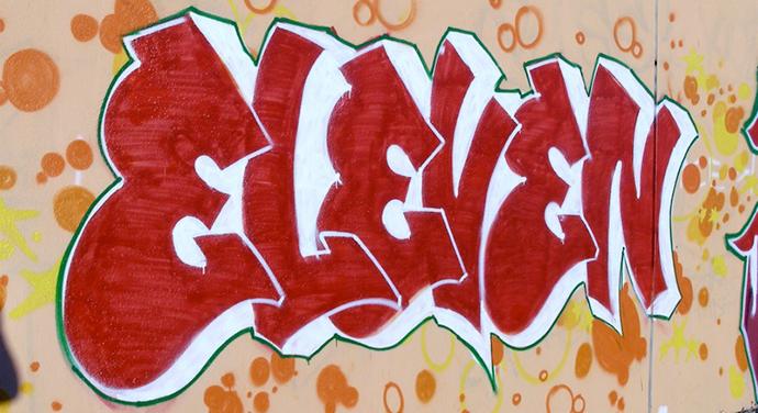 """""""Eleven"""" graffiti, Oakland, California, Defame"""