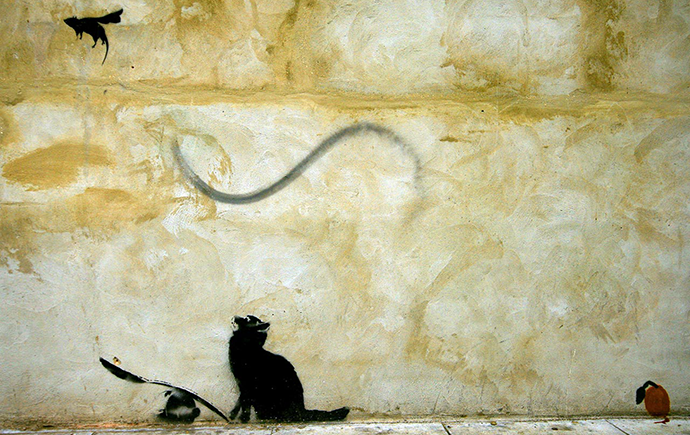Cat mouse, banksy