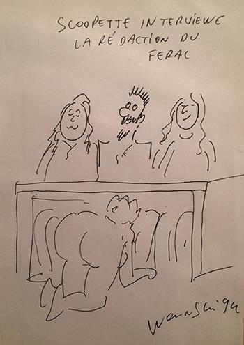 Jedna od karikatura koje je Wolinski nacrtao u redakciji Feral Tribunea 1994.
