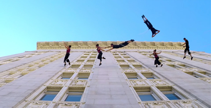 Waltz on the Walls, An Aerial Dance Performance on the Side of Oakland City Hall