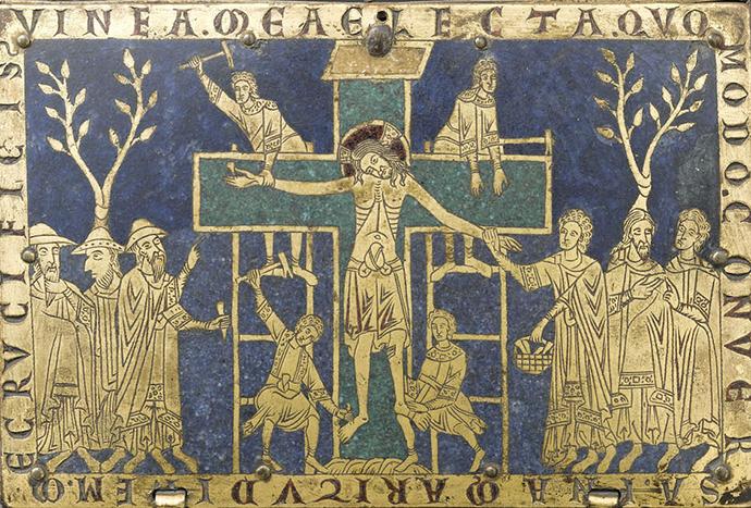 Raspeti Isus i jevrejski i nejevrejski dželati, emajlirani ćivot, oko 1170, Réunion des Musées Nationaux/Art Resource, New York