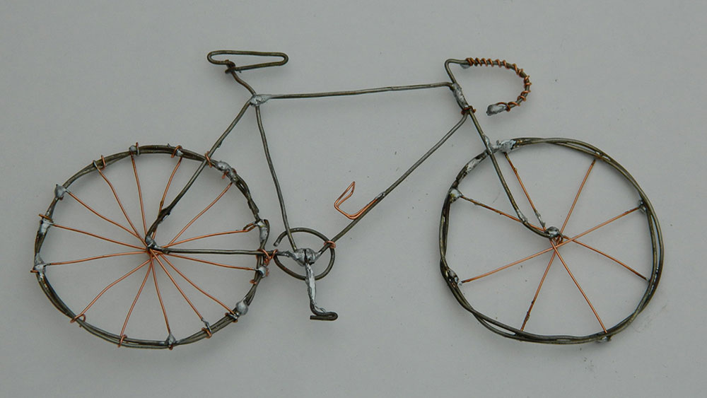Bicikl, žičana skulptura, Mike Kunselman