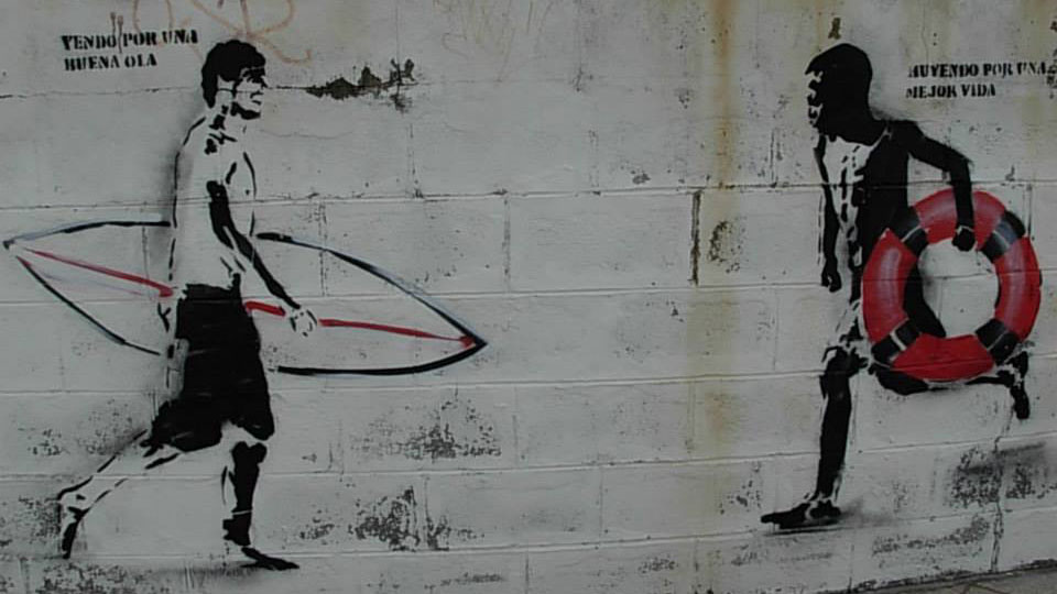 The Migrationist, graffiti art at the port of Tarifa, Spain, photo by Luca Gefäller ©