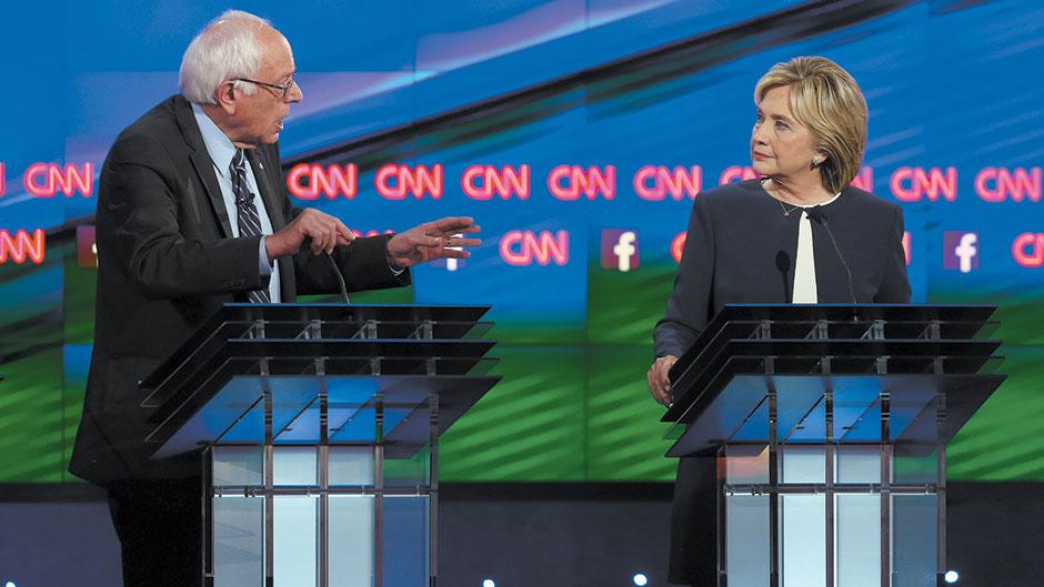 Bernie Sanders i Hillary Clinton, demokratska predsednička debata, Las Vegas, oktobar 2015, Joe Raedle/Getty Images