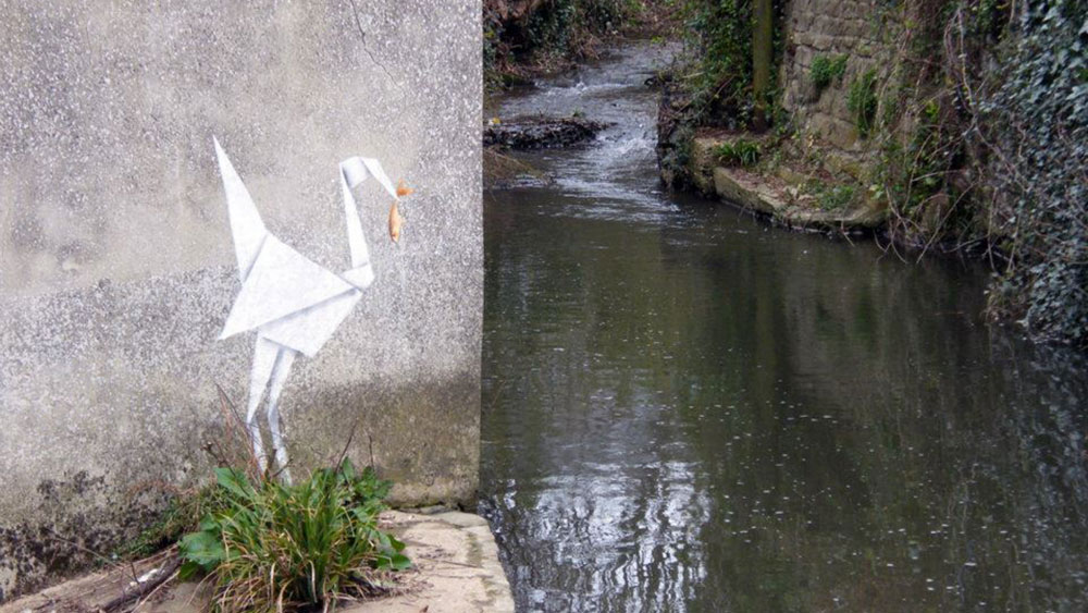 Origami crane, Bansky