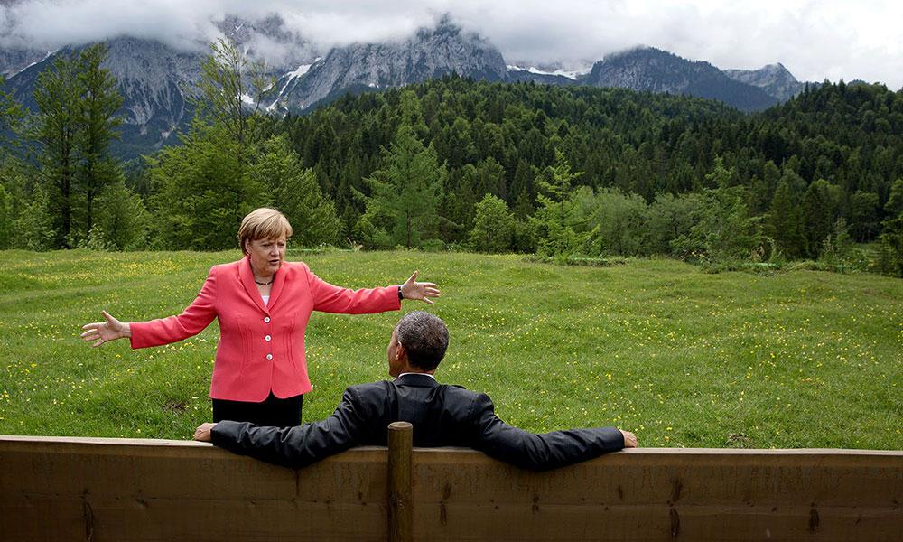 Barak Obama sa nemačkom kancelarkom Angelom Merkel tokom sastanka G7 u Nemačkoj, jun 2015, foto: Pete Souza/The White House
