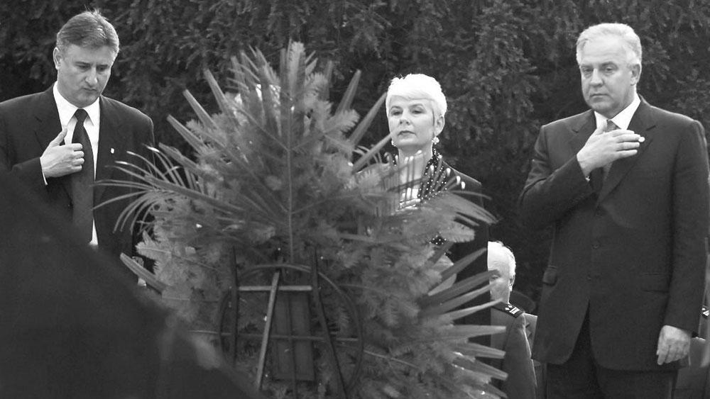 Karamarko, Kosor i Sanader na Tuđmanovom grobu, foto: Boris Ščitar/PIXSELL