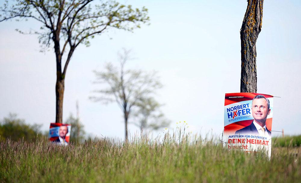 Plakati krajnje desnog kandidata Norberta Hofera, maj 2016, foto: Leonhard Foeger/Reuters