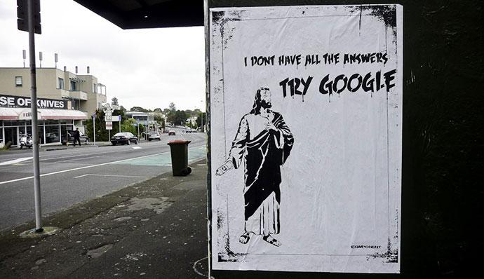 Google God, poster street work, Mt Eden Auckland NZ, Component