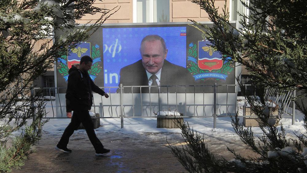 Prenos Putinove konferencije za novinare preko bilborda na Krimu 23. decembra 2016.