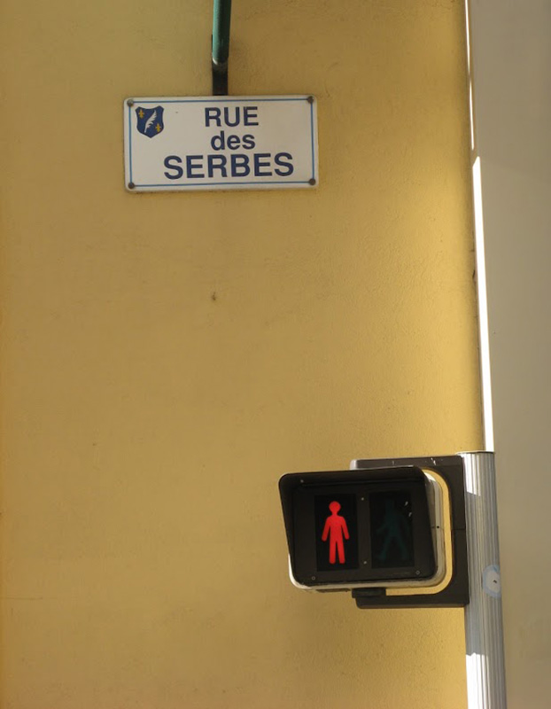 ulična tabla - Rue des Serbes