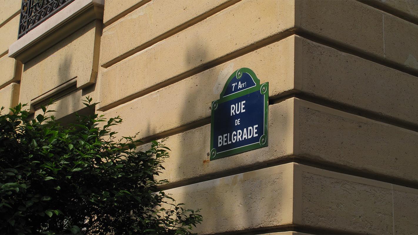 ulična tabla Rue de Belgrade