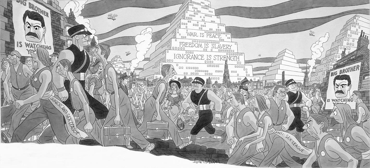 "Ilustracija Abnera Deana Orvelove ""1984."" za Life magazin 1949, Dartmouth College Library/Rauner Special Collections"