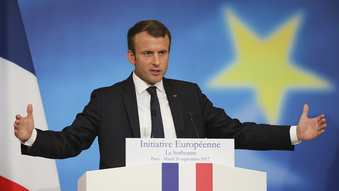 Emmanuel Macron na Sorboni, foto: Ludovic Marin/Pool Photo via AP