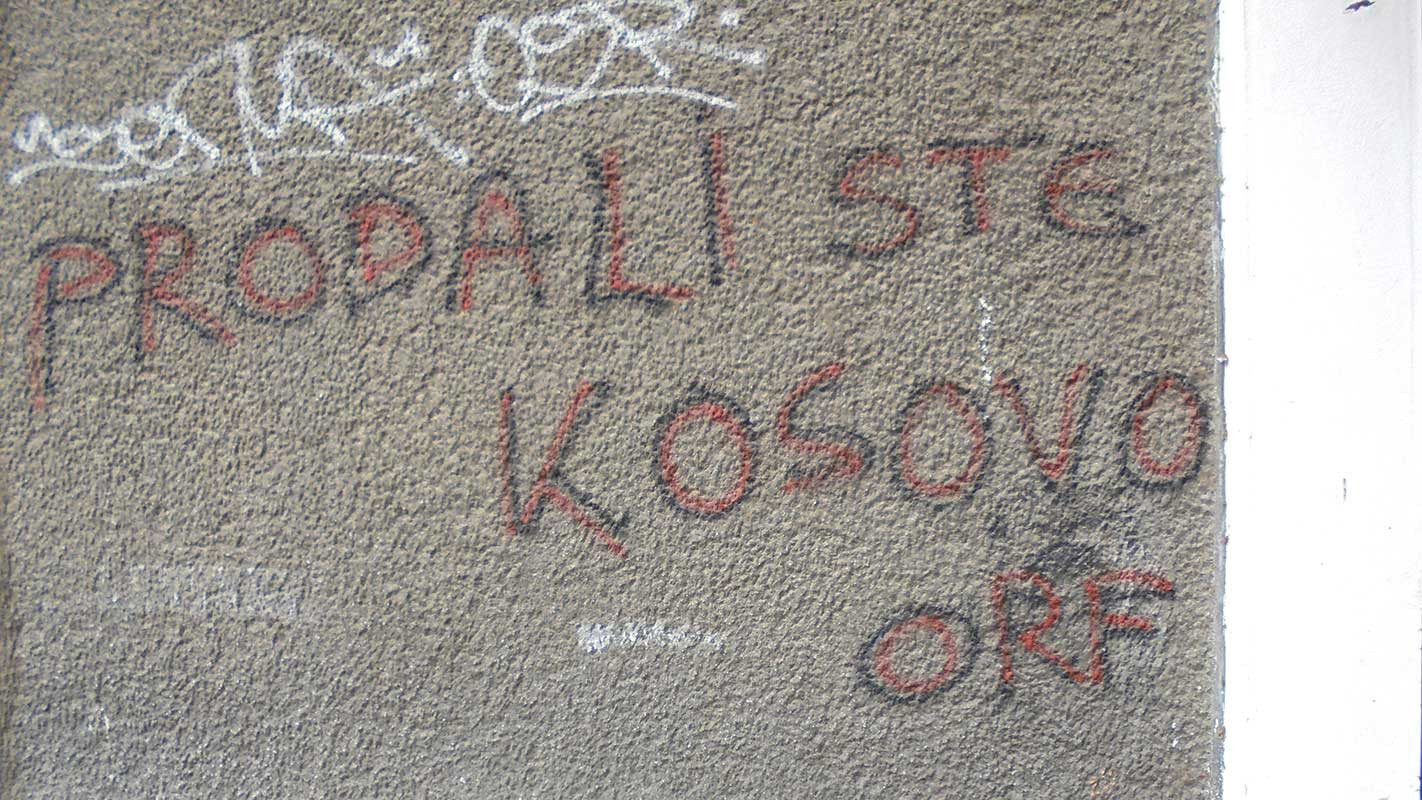 natpis na zidu: propali ste, kosovo, orf