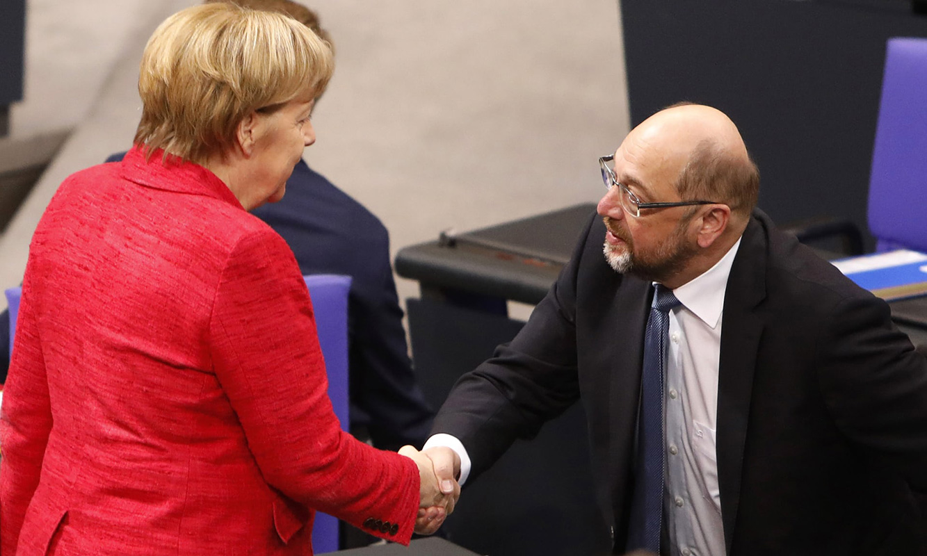 Angela Merkel i Martin Schulz, foto: Michele Tantussi/Getty Images