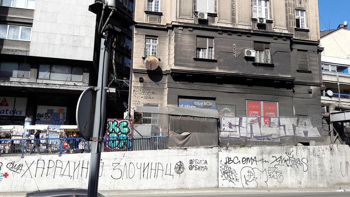 natpis Haradinaj zločinac, Zeleni venac, Beograd