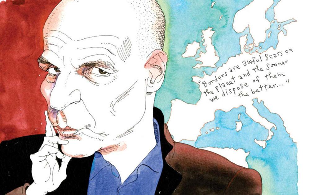 """Yanis Varoufakis: """"Granice su užasni ožiljci na planeti i što ih se pre otarasimo to bolje"""". Ilustracija: Joe Ciardiello"""