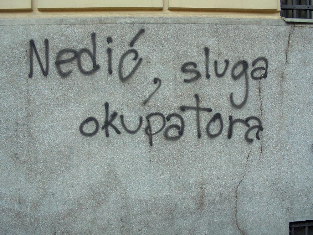 Grafit na Dorćolu: Nedić sluga okupatora, foto: Slavica Miletić