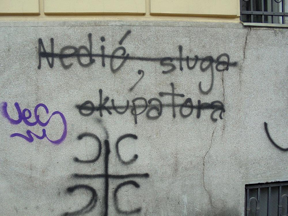 Precrtan grafit Nedić sluga okupatora, foto: Slavica Miletić
