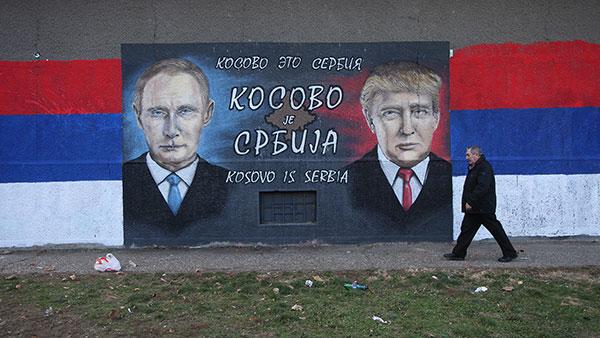 Mural u Beogradu Kosovo je Srbija sa Putinom i Trampom