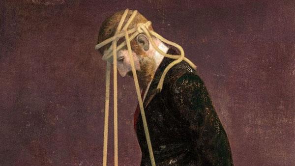 ilustracija čoveka kome su za glavu privezana tri sidra