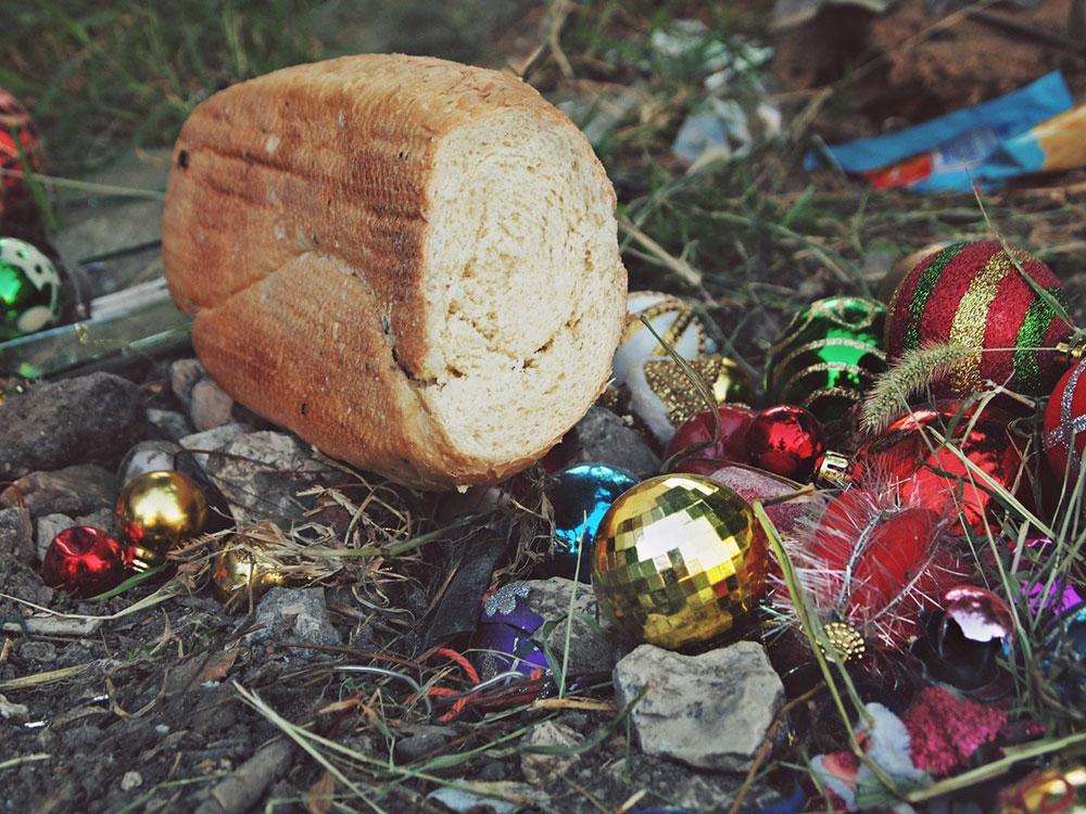 hleb na đubrištu novogodišnjih ukrasa