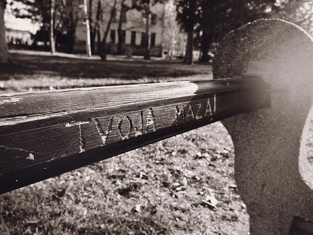 natpis Tvoja maza urezan na klupi u parku