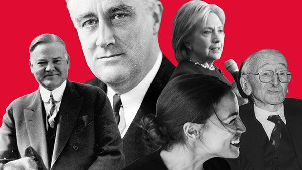 Kolaž portreta na crvenoj pozadini: Fridrih Hajek, Herbert Huver, Frenklin Ruzvelt, Hilari Klinton, Aleksandria Okasio-Kortez