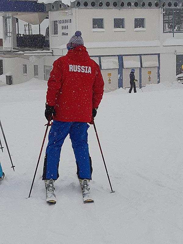 Skijaš u jakni sa natpisom Russia, Austrija 2019.