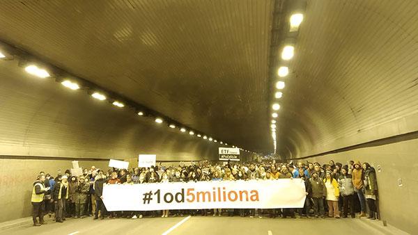 Protest #1od5miliona u tunelu na Zelenom vencu, Beograd
