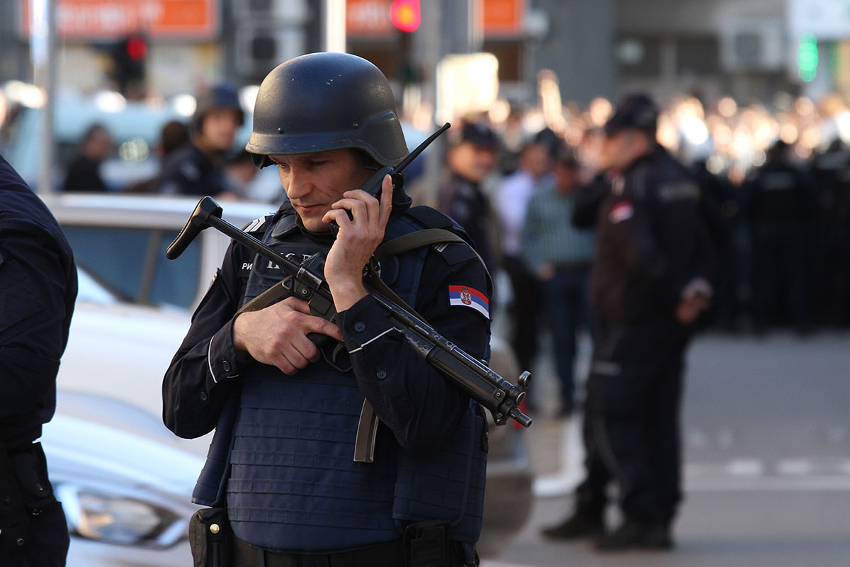 Belgrade, March 17, 2019, a policeman with a gun