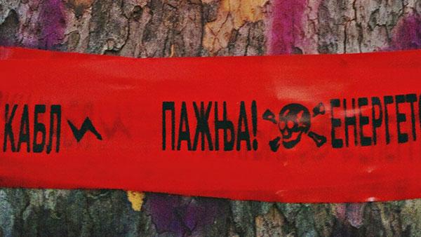 Kora drveta na kojoj je nacrtano srce i koje je oblepljeno crvenom trakom upozorenja: Pažnja!