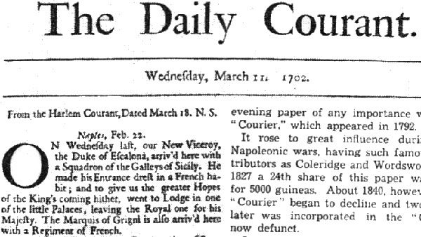 naslovna strana The Daily Courant