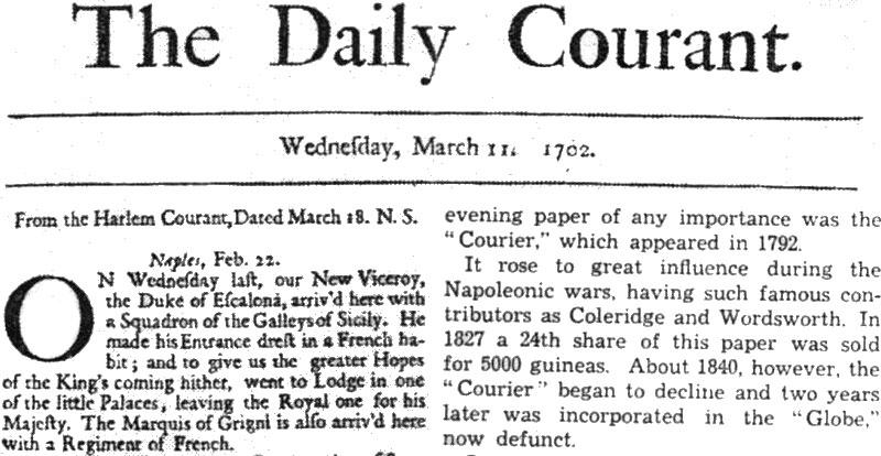 naslovna strana The Daily Courant