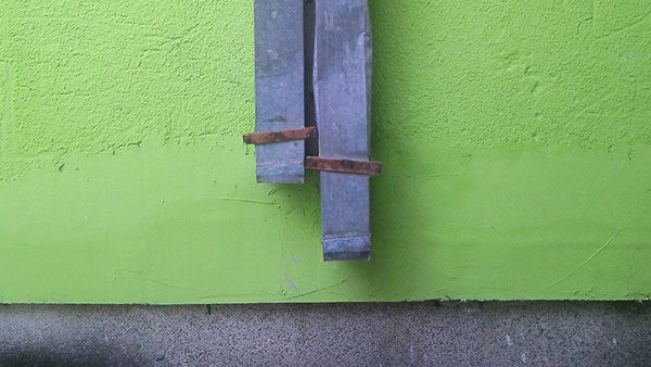 oluk na zelenom zidu