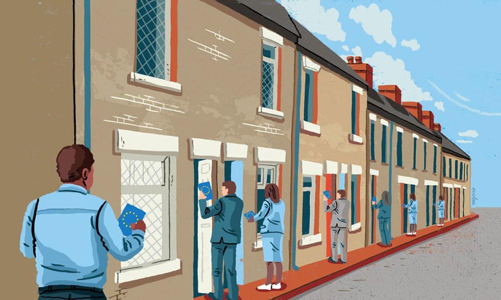 Ilustracija: Ljudi agituju od vrata do vrata za EU izbore