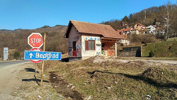 Tabla za Beograd na autoputu kod Predejana